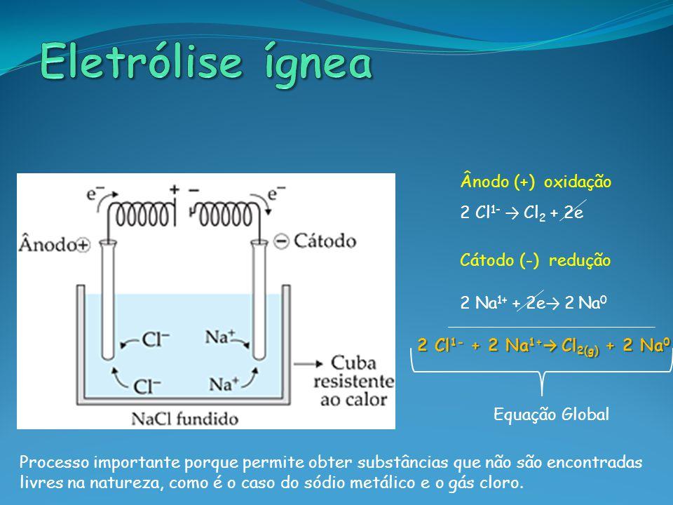 Ânodo (+) oxidação 2 Cl 1- → Cl 2 + 2e Cátodo (-) redução 2 Na 1+ + 2e → 2 Na 0 2 Cl 1- + 2 Na 1+ → Cl 2(g) + 2 Na 0 Equação Global Processo important