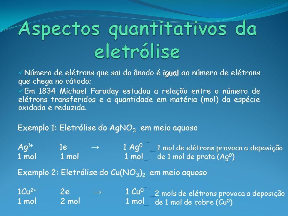 igual Número de elétrons que sai do ânodo é igual ao número de elétrons que chega no cátodo; Em 1834 Michael Faraday estudou a relação entre o número de elétrons transferidos e a quantidade em matéria (mol) da espécie oxidada e reduzida.