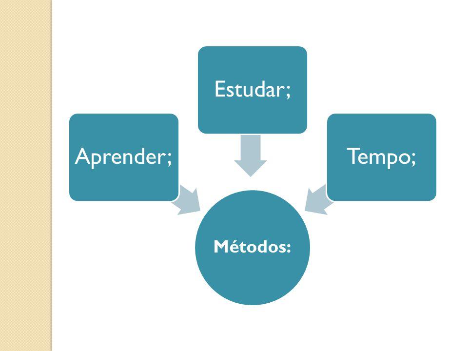 Métodos: Aprender;Estudar;Tempo;