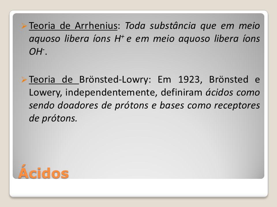 Ácidos  Teoria de Arrhenius: Toda substância que em meio aquoso libera íons H + e em meio aquoso libera íons OH -.