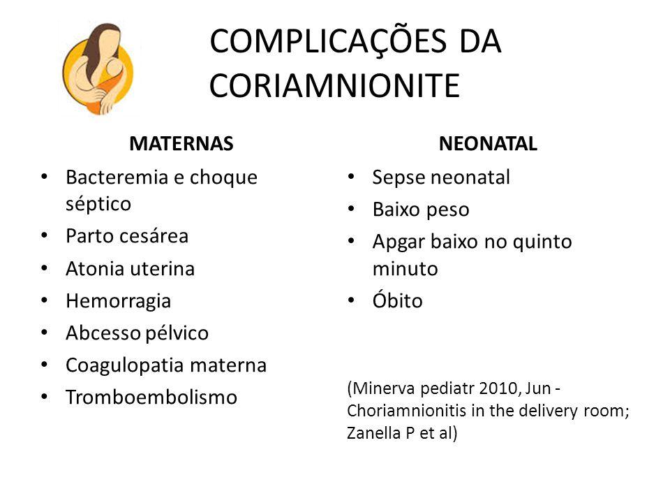 COMPLICAÇÕES DA CORIAMNIONITE MATERNAS Bacteremia e choque séptico Parto cesárea Atonia uterina Hemorragia Abcesso pélvico Coagulopatia materna Trombo