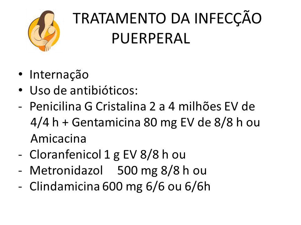 TRATAMENTO DA INFECÇÃO PUERPERAL Internação Uso de antibióticos: -Penicilina G Cristalina 2 a 4 milhões EV de 4/4 h + Gentamicina 80 mg EV de 8/8 h ou
