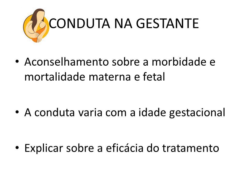 CONDUTA NA GESTANTE Aconselhamento sobre a morbidade e mortalidade materna e fetal A conduta varia com a idade gestacional Explicar sobre a eficácia d