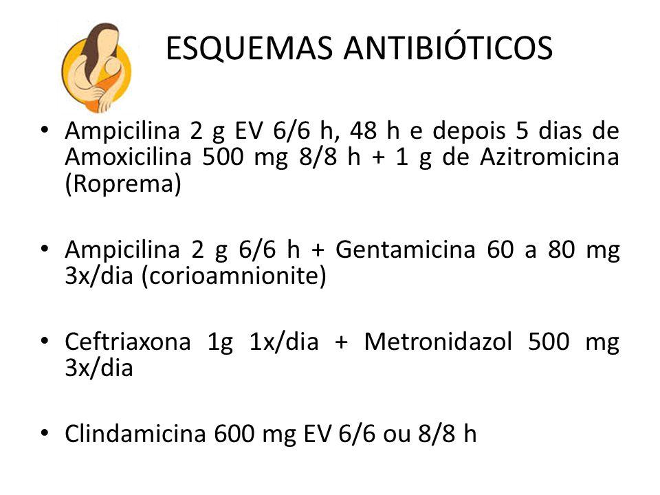 ESQUEMAS ANTIBIÓTICOS Ampicilina 2 g EV 6/6 h, 48 h e depois 5 dias de Amoxicilina 500 mg 8/8 h + 1 g de Azitromicina (Roprema) Ampicilina 2 g 6/6 h +
