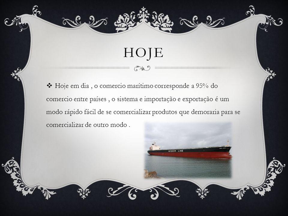 HOJE  Hoje em dia, o comercio marítimo corresponde a 95% do comercio entre países, o sistema e importação e exportação é um modo rápido fácil de se comercializar produtos que demoraria para se comercializar de outro modo.
