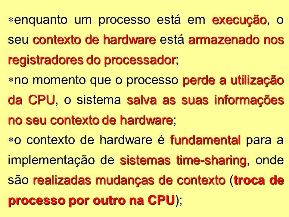  enquanto um processo está em execução, o seu contexto de hardware está armazenado nos registradores do processador;  no momento que o processo perde a utilização da CPU, o sistema salva as suas informações no seu contexto de hardware;  o contexto de hardware é fundamental para a implementação de sistemas time-sharing, onde são realizadas mudanças de contexto (troca de processo por outro na CPU);