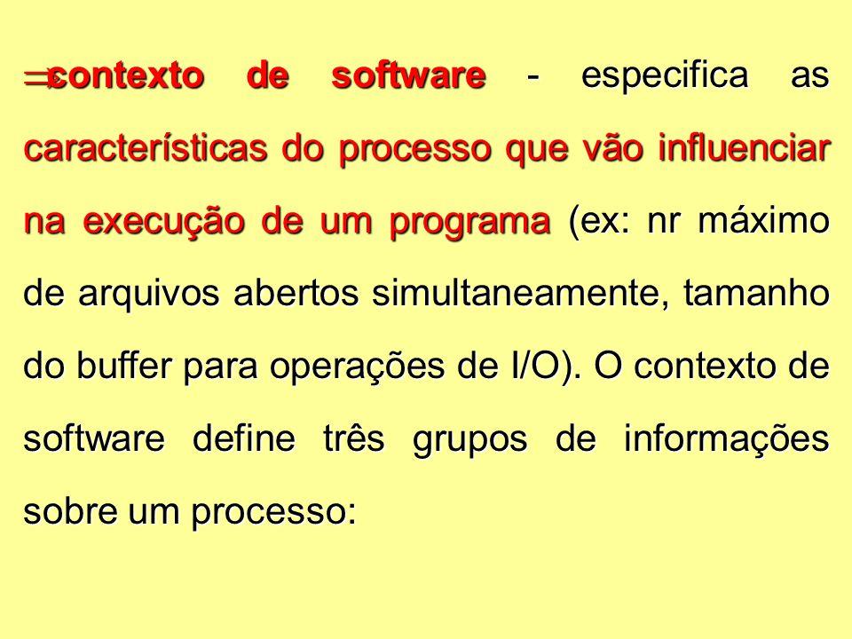  contexto de software - especifica as características do processo que vão influenciar na execução de um programa (ex: nr máximo de arquivos abertos simultaneamente, tamanho do buffer para operações de I/O).