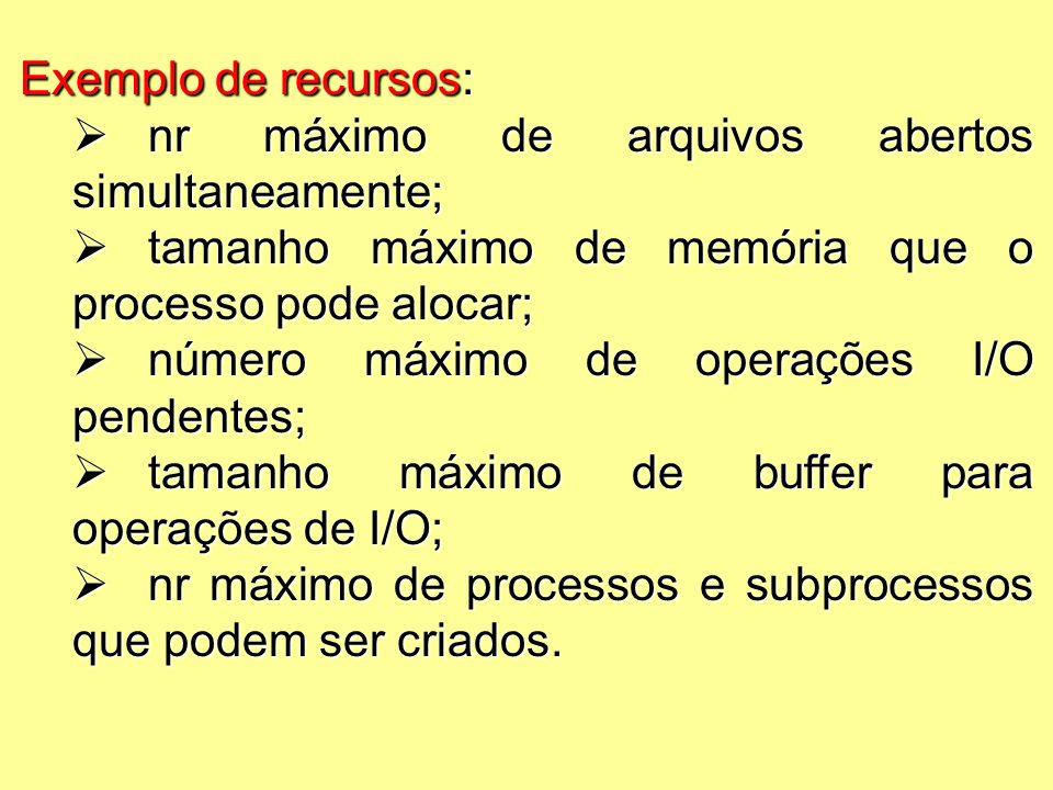 Exemplo de recursos:  nr máximo de arquivos abertos simultaneamente;  tamanho máximo de memória que o processo pode alocar;  número máximo de operações I/O pendentes;  tamanho máximo de buffer para operações de I/O;  nr máximo de processos e subprocessos que podem ser criados.