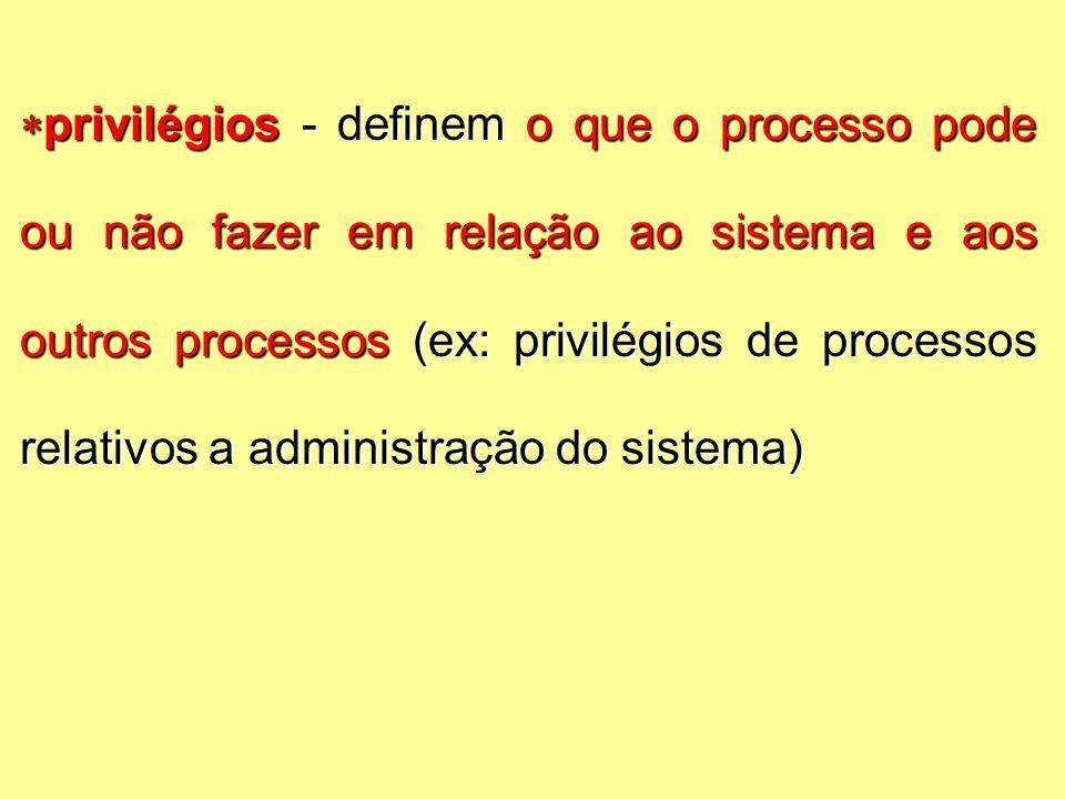  privilégios - definem o que o processo pode ou não fazer em relação ao sistema e aos outros processos (ex: privilégios de processos relativos a administração do sistema)