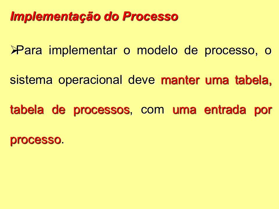 Implementação do Processo  Para implementar o modelo de processo, o sistema operacional deve manter uma tabela, tabela de processos, com uma entrada por processo.