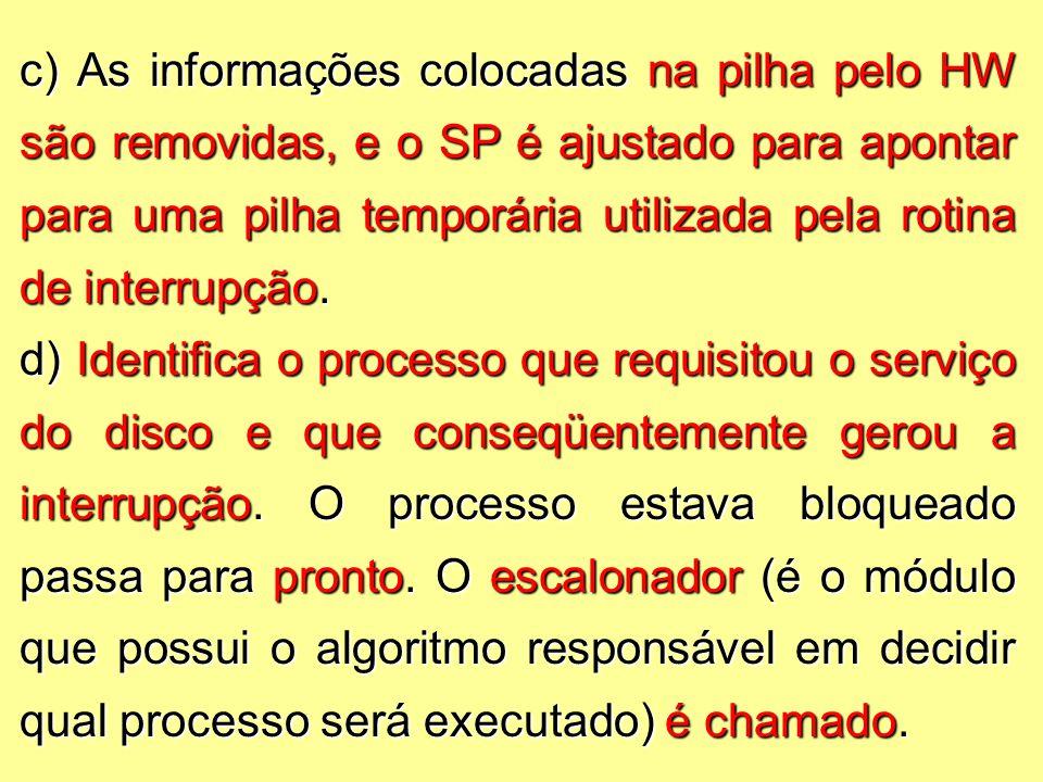 c) As informações colocadas na pilha pelo HW são removidas, e o SP é ajustado para apontar para uma pilha temporária utilizada pela rotina de interrupção.