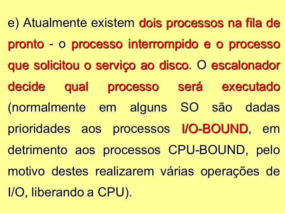 e) Atualmente existem dois processos na fila de pronto - o processo interrompido e o processo que solicitou o serviço ao disco.