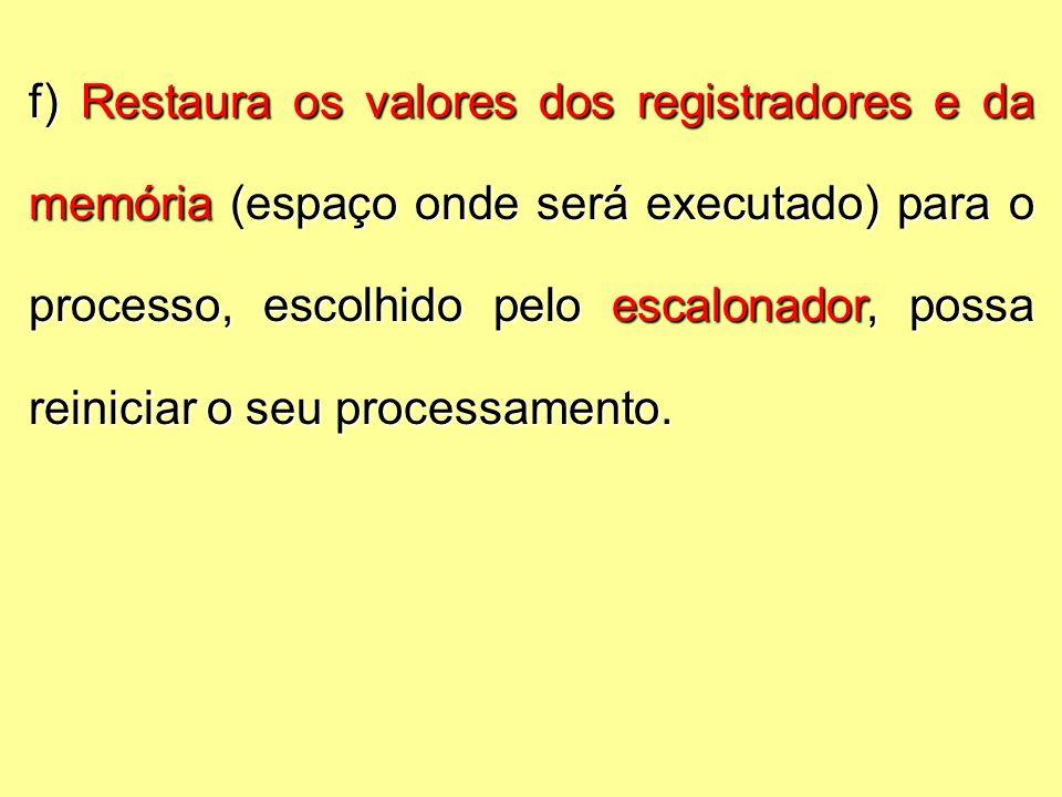 f) Restaura os valores dos registradores e da memória (espaço onde será executado) para o processo, escolhido pelo escalonador, possa reiniciar o seu processamento.
