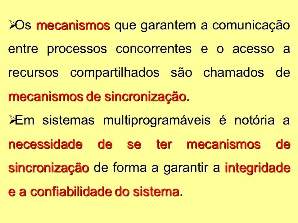  Os mecanismos que garantem a comunicação entre processos concorrentes e o acesso a recursos compartilhados são chamados de mecanismos de sincronização.