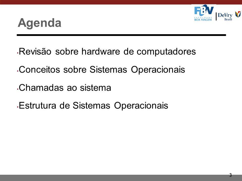 3 Agenda Revisão sobre hardware de computadores Conceitos sobre Sistemas Operacionais Chamadas ao sistema Estrutura de Sistemas Operacionais
