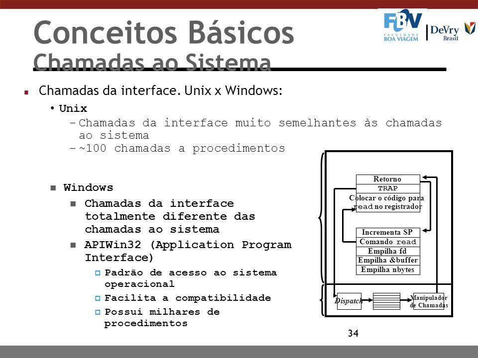 34 Conceitos Básicos Chamadas ao Sistema n Chamadas da interface. Unix x Windows: Unix -Chamadas da interface muito semelhantes às chamadas ao sistema