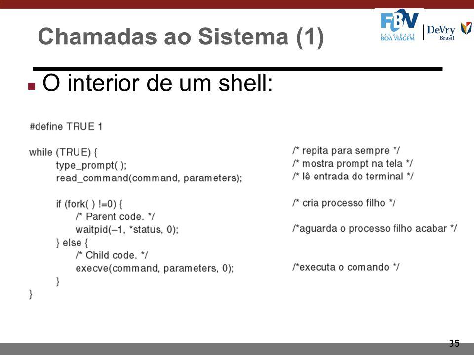 35 Chamadas ao Sistema (1) n O interior de um shell: