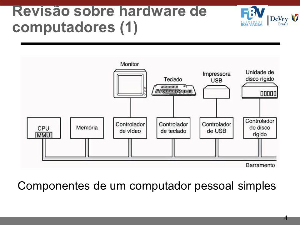 4 Revisão sobre hardware de computadores (1) Componentes de um computador pessoal simples