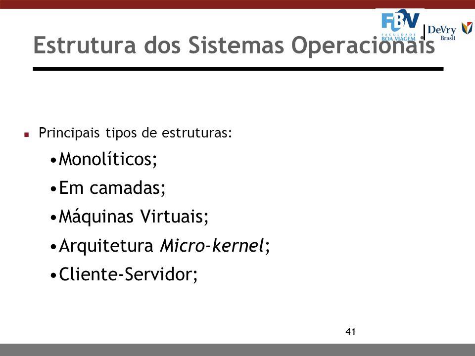 41 Estrutura dos Sistemas Operacionais n Principais tipos de estruturas: Monolíticos; Em camadas; Máquinas Virtuais; Arquitetura Micro-kernel; Cliente