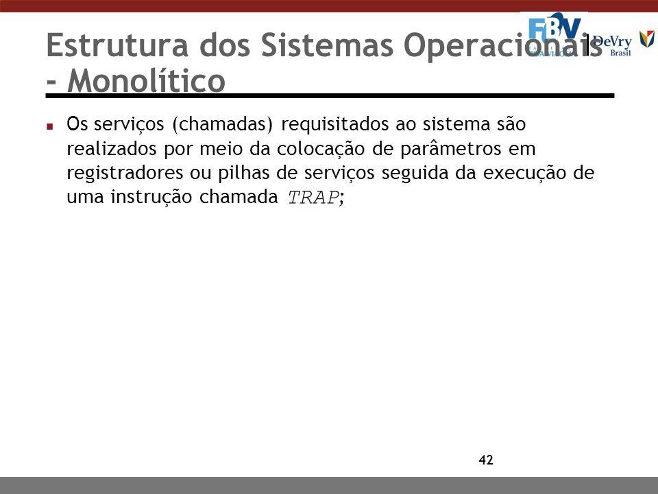 42 Estrutura dos Sistemas Operacionais - Monolítico Os serviços (chamadas) requisitados ao sistema são realizados por meio da colocação de parâmetros