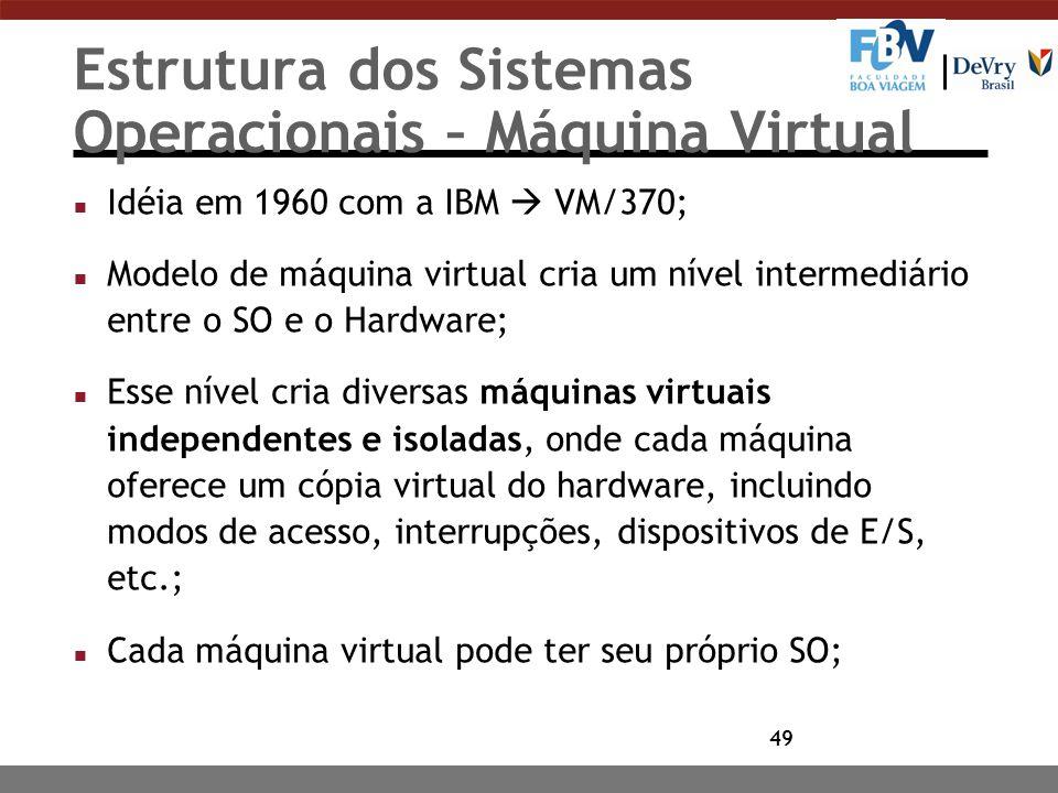 49 Estrutura dos Sistemas Operacionais – Máquina Virtual n Idéia em 1960 com a IBM  VM/370; n Modelo de máquina virtual cria um nível intermediário e