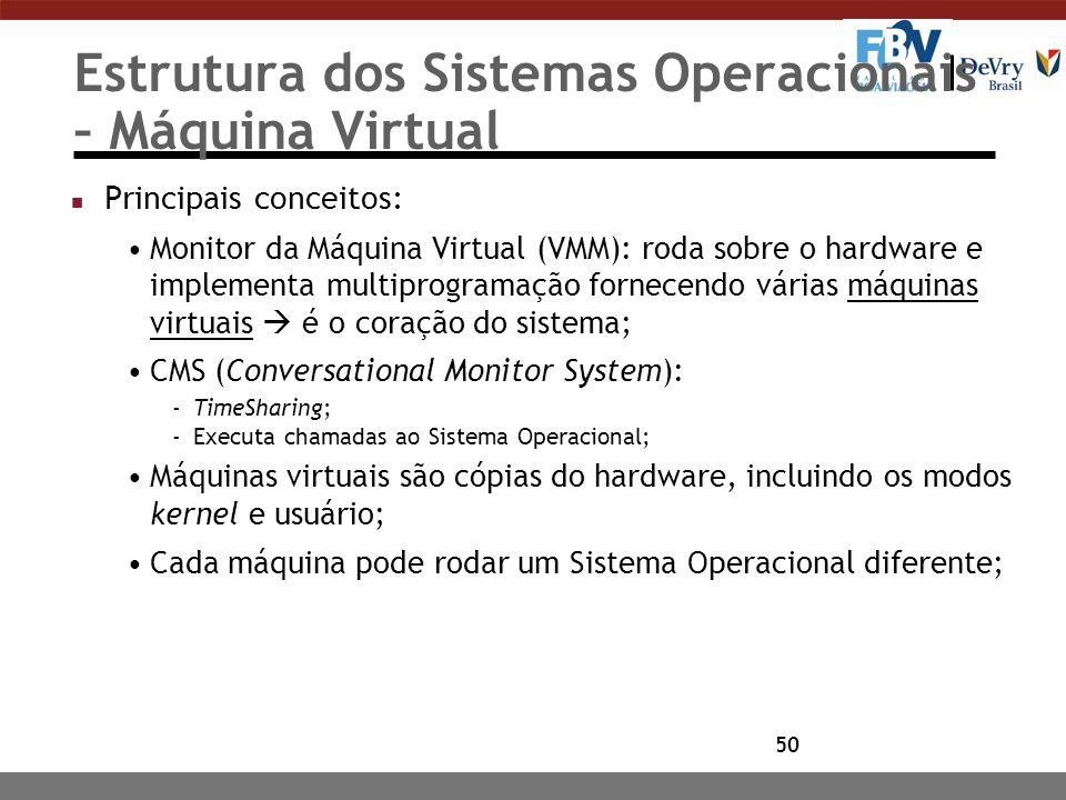 50 Estrutura dos Sistemas Operacionais – Máquina Virtual n Principais conceitos: Monitor da Máquina Virtual (VMM): roda sobre o hardware e implementa