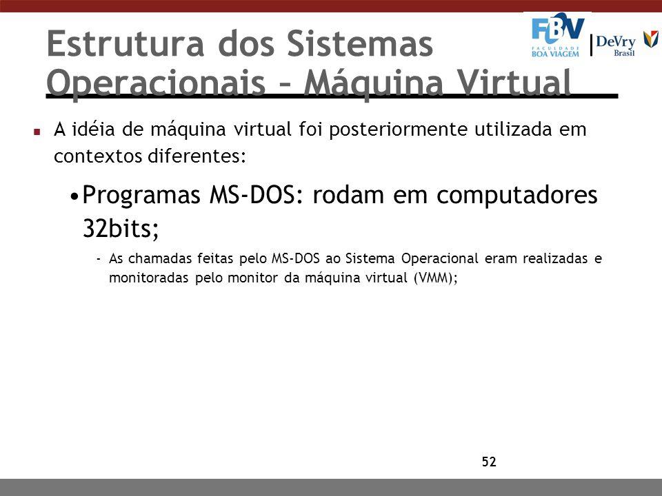 52 Estrutura dos Sistemas Operacionais – Máquina Virtual n A idéia de máquina virtual foi posteriormente utilizada em contextos diferentes: Programas