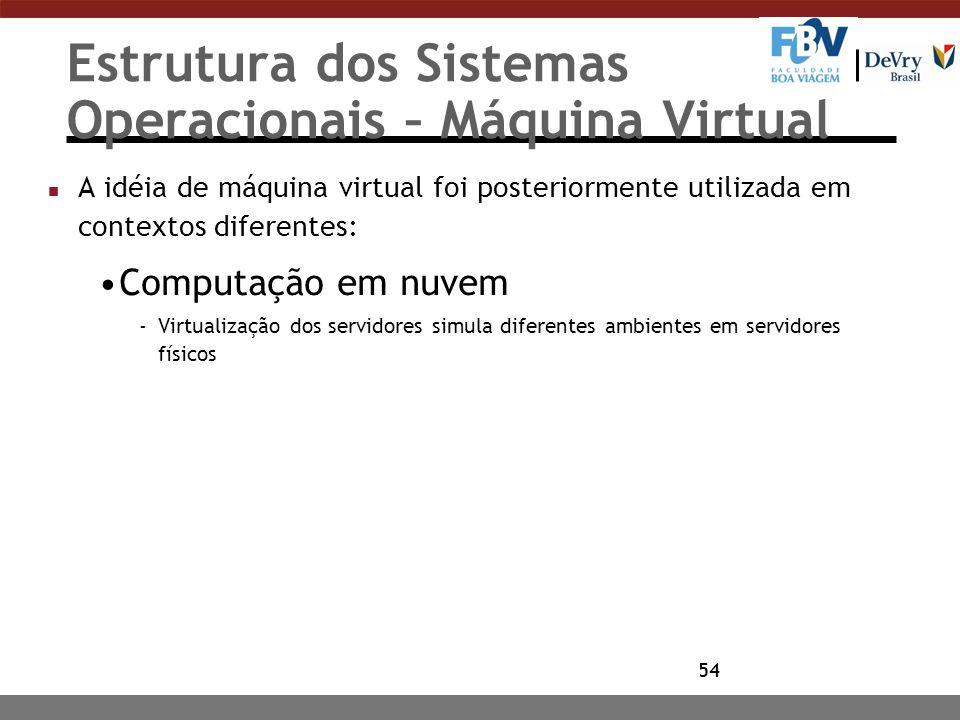 54 Estrutura dos Sistemas Operacionais – Máquina Virtual n A idéia de máquina virtual foi posteriormente utilizada em contextos diferentes: Computação