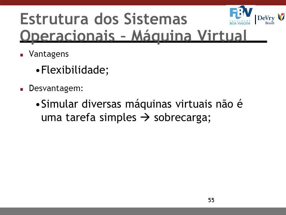 55 Estrutura dos Sistemas Operacionais – Máquina Virtual n Vantagens Flexibilidade; n Desvantagem: Simular diversas máquinas virtuais não é uma tarefa
