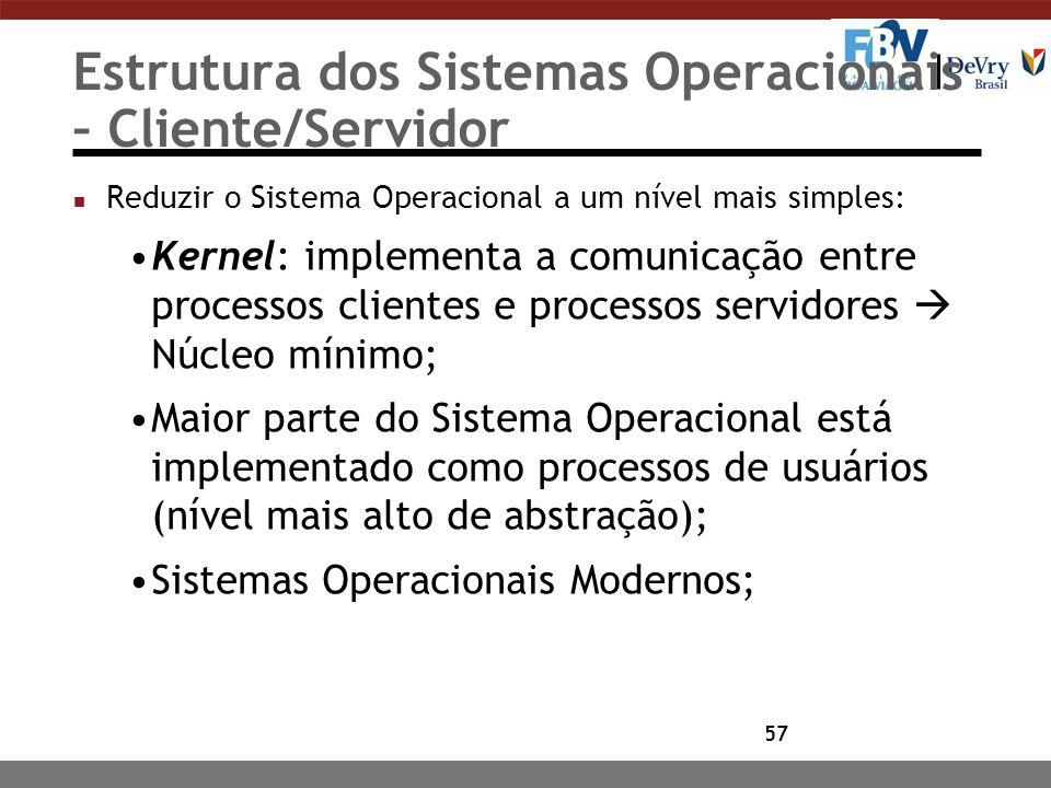 57 Estrutura dos Sistemas Operacionais – Cliente/Servidor n Reduzir o Sistema Operacional a um nível mais simples: Kernel: implementa a comunicação en