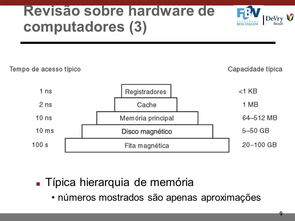 9 Revisão sobre hardware de computadores (3) n Típica hierarquia de memória números mostrados são apenas aproximações