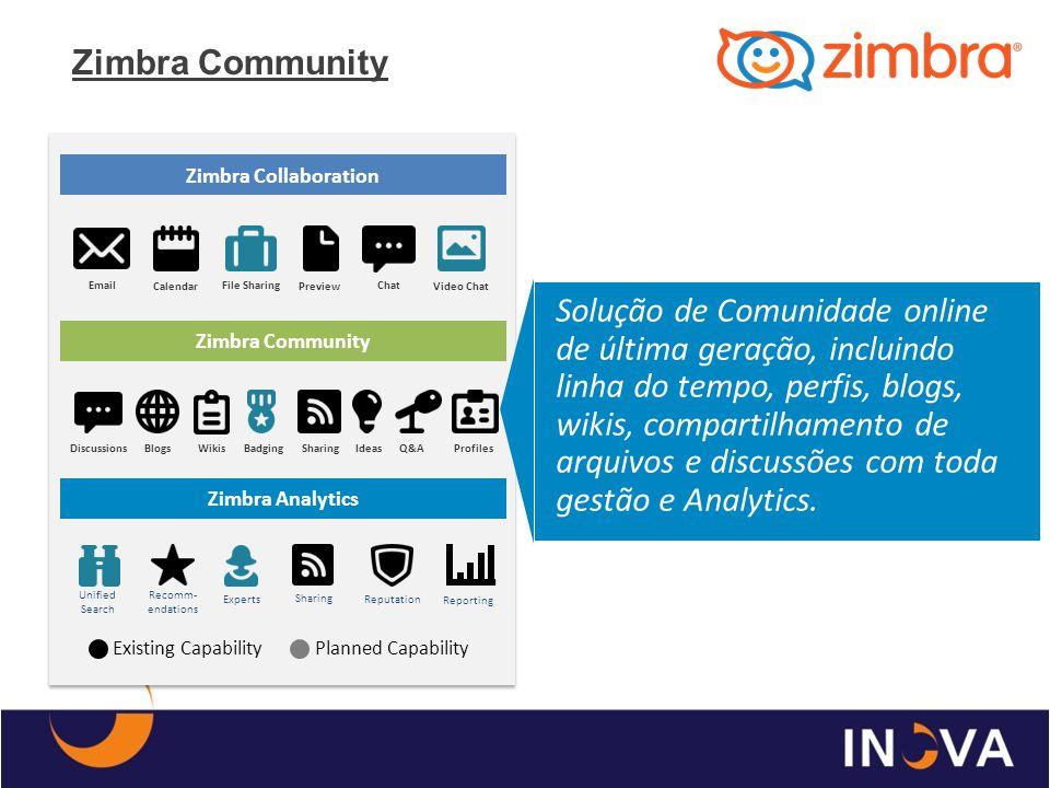 Zimbra Community Solução de Comunidade online de última geração, incluindo linha do tempo, perfis, blogs, wikis, compartilhamento de arquivos e discus