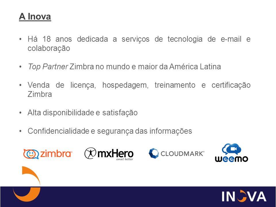 A Inova Há 18 anos dedicada a serviços de tecnologia de e-mail e colaboração Top Partner Zimbra no mundo e maior da América Latina Venda de licença, h