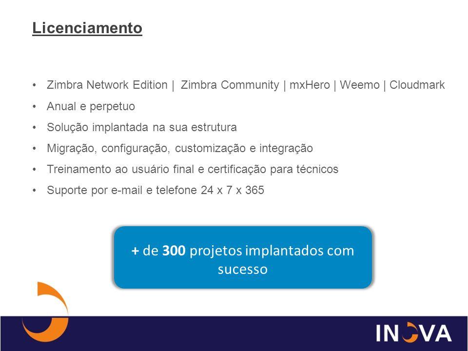 Zimbra Network Edition | Zimbra Community | mxHero | Weemo | Cloudmark Migração sem custo Crescimento conforme demanda Backup SLA 99,5% garantido em contrato Suporte 24 X 7 X 365 Sem contrato de fidelidade Sem multa de cancelamento Hospedagem - Nuvem + de 300.000 contas em cloud computing + de 3.000.000 contas implantadas