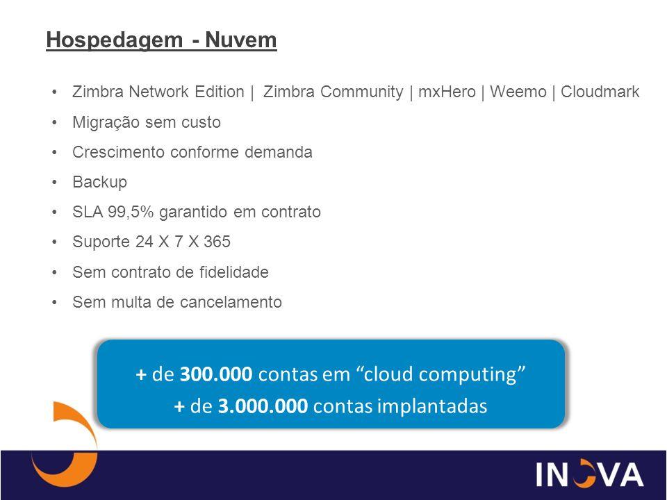 Zimbra Network Edition | Zimbra Community | mxHero | Weemo | Cloudmark Migração sem custo Crescimento conforme demanda Backup SLA 99,5% garantido em c