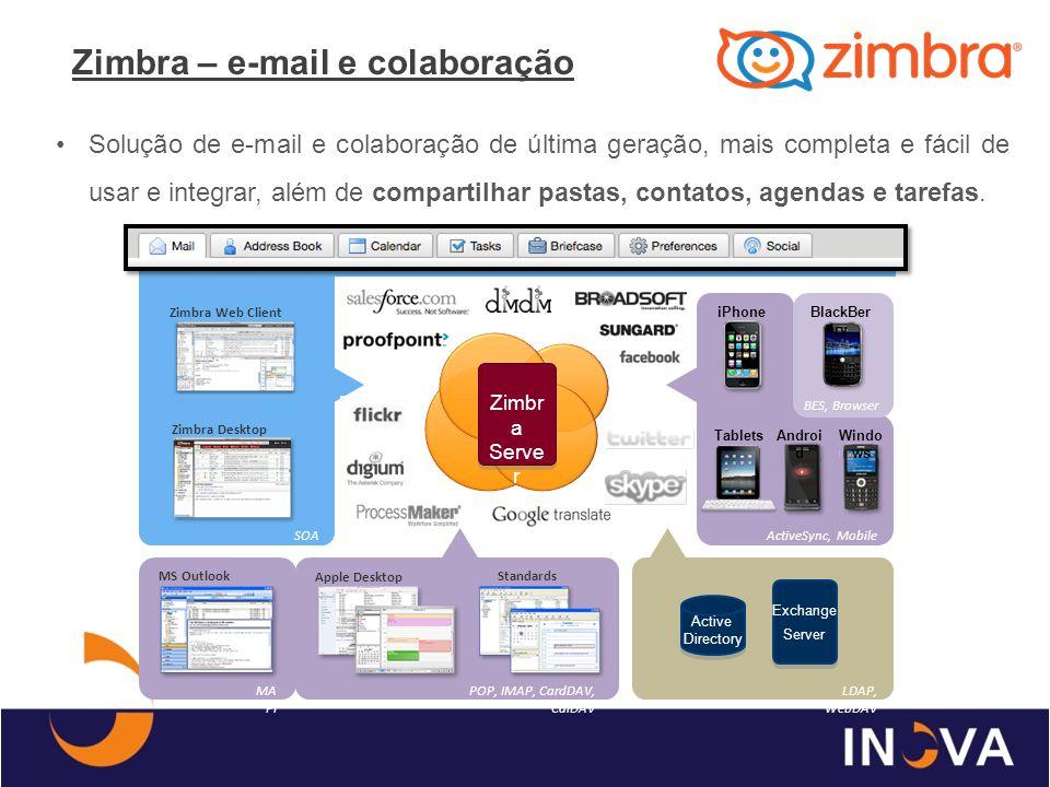 Zimbra – e-mail e colaboração Solução de e-mail e colaboração de última geração, mais completa e fácil de usar e integrar, além de compartilhar pastas