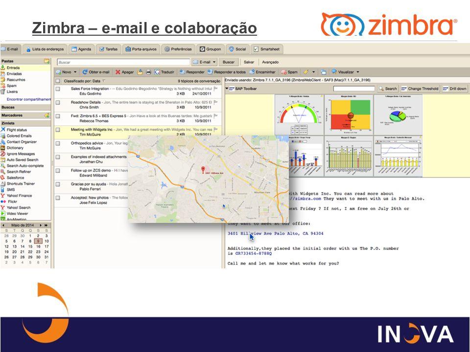 Infraestrutura Zimbra e-mail INFRAESTRUTURA (5.000 contas) SO – Linux (Red Hat, CentOS e Ubuntu) HD – 8GB Ram / 4vCPUs SW – Zimbra Network Edition 8.0.x ESTIMATIVA DE PREÇO Licença Perpétua R$180,00/caixa (instalação, configuração, integração, personalização e treinamento) *Após instalação R$20,00/caixa/ano Hospedagem (nuvem) R$ 10,80/caixa/mês/25Gb