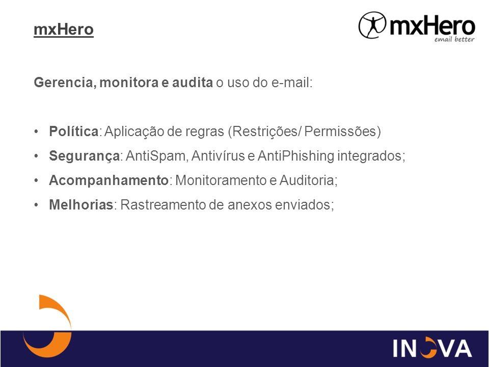 mxHero Gerencia, monitora e audita o uso do e-mail: Política: Aplicação de regras (Restrições/ Permissões) Segurança: AntiSpam, Antivírus e AntiPhishi