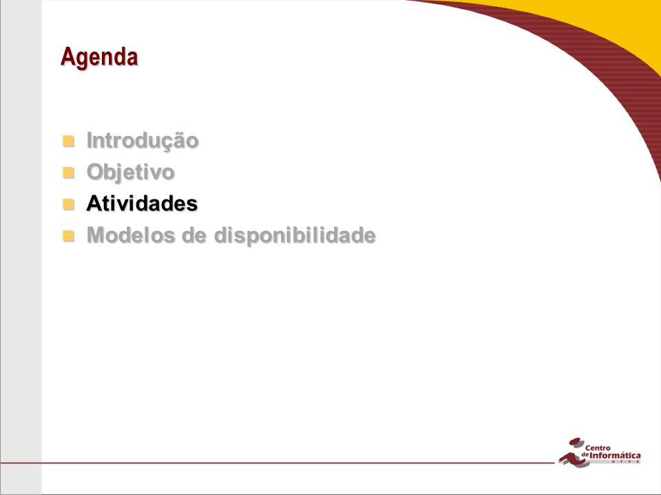 Agenda Introdução Introdução Objetivo Objetivo Atividades Atividades Modelos de disponibilidade Modelos de disponibilidade