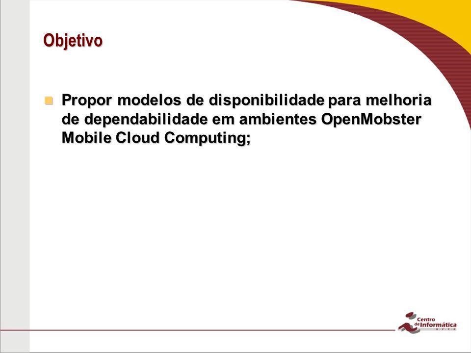 Objetivo Propor modelos de disponibilidade para melhoria de dependabilidade em ambientes OpenMobster Mobile Cloud Computing; Propor modelos de disponi