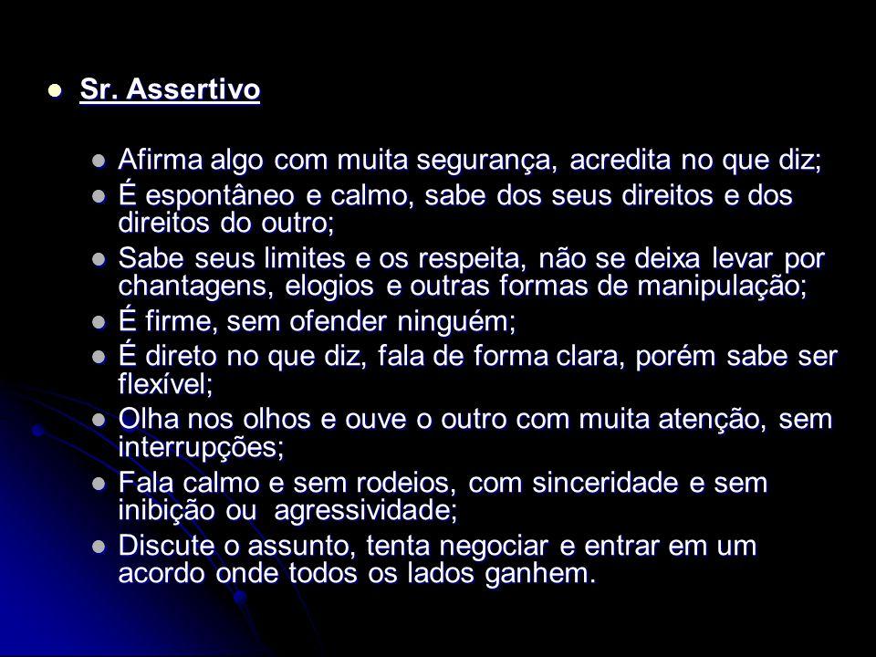 Sr. Bravinho Sr. Bravinho É autoritário; É autoritário; Não respeita os limites do outro e quer que sua vontade impere; Não respeita os limites do out