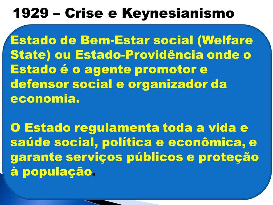 Estado de Bem-Estar social (Welfare State) ou Estado-Providência onde o Estado é o agente promotor e defensor social e organizador da economia.
