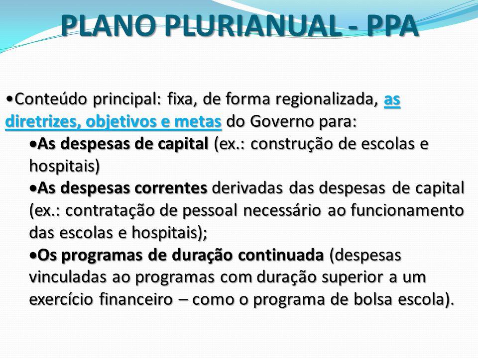 Conteúdo principal: fixa, de forma regionalizada, as diretrizes, objetivos e metas do Governo para:Conteúdo principal: fixa, de forma regionalizada, a