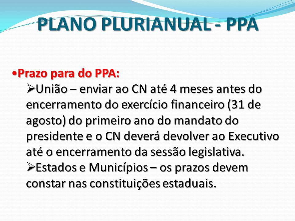 Prazo para do PPA:Prazo para do PPA:  União – enviar ao CN até 4 meses antes do encerramento do exercício financeiro (31 de agosto) do primeiro ano d