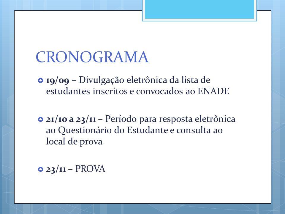 CRONOGRAMA  19/09 – Divulgação eletrônica da lista de estudantes inscritos e convocados ao ENADE  21/10 a 23/11 – Período para resposta eletrônica a