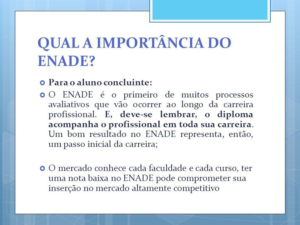 QUAL A IMPORTÂNCIA DO ENADE?  Para o aluno concluinte:  O ENADE é o primeiro de muitos processos avaliativos que vão ocorrer ao longo da carreira pr