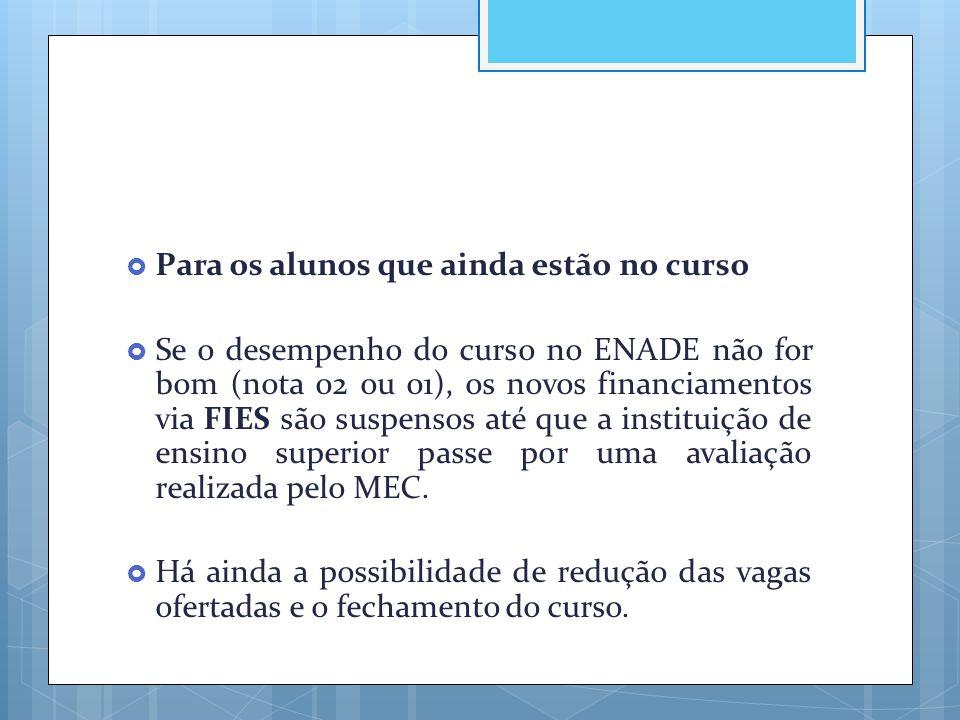  Para os alunos que ainda estão no curso  Se o desempenho do curso no ENADE não for bom (nota 02 ou 01), os novos financiamentos via FIES são suspen