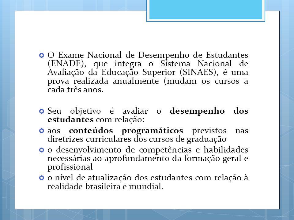  O Exame Nacional de Desempenho de Estudantes (ENADE), que integra o Sistema Nacional de Avaliação da Educação Superior (SINAES), é uma prova realiza
