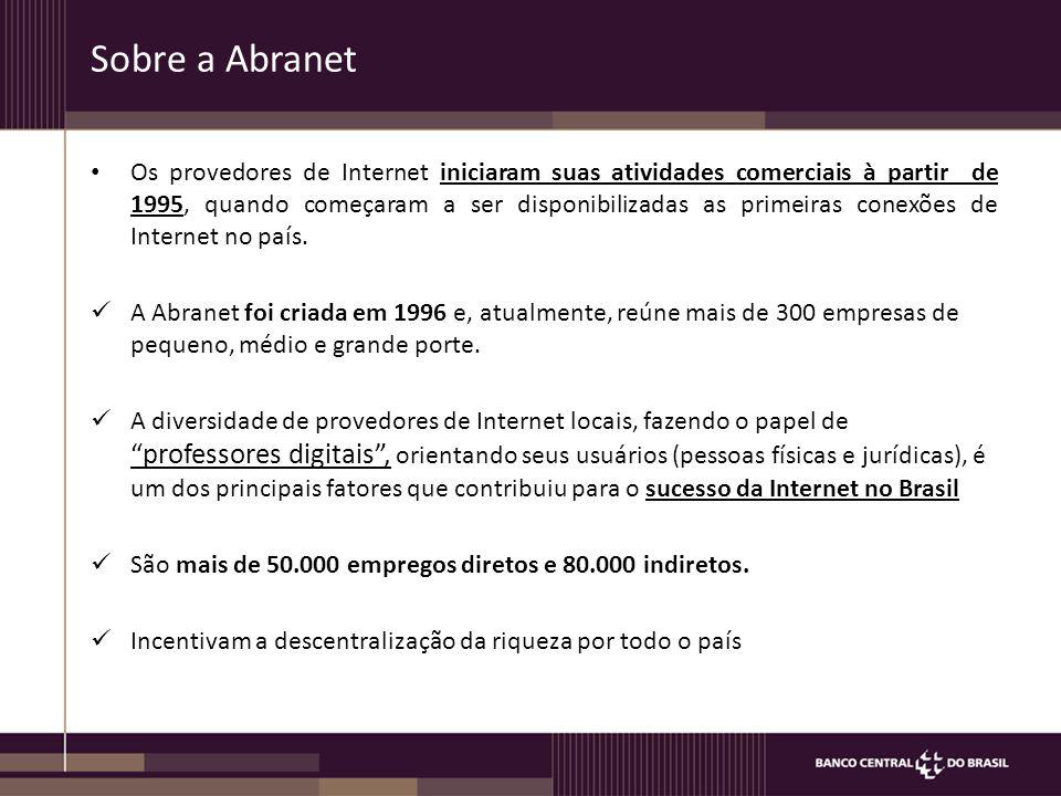 Sobre a Abranet Os provedores de Internet iniciaram suas atividades comerciais à partir de 1995, quando começaram a ser disponibilizadas as primeiras conexões de Internet no país.