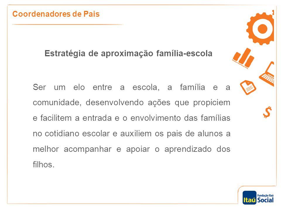 Estratégia de aproximação família-escola Ser um elo entre a escola, a família e a comunidade, desenvolvendo ações que propiciem e facilitem a entrada